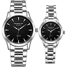 Valentines His and Hers Pair Watches - fq240 Men's Women's Silvery Stainless Steel Dress Wristwatches,Simple Style,Black Face,Set of 2