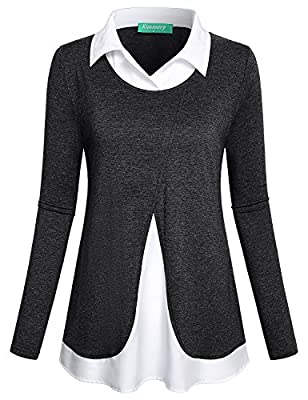 Kimmery Women's Long Sleeve Collared Patchwork 2 In 1 Layered Top Blouse