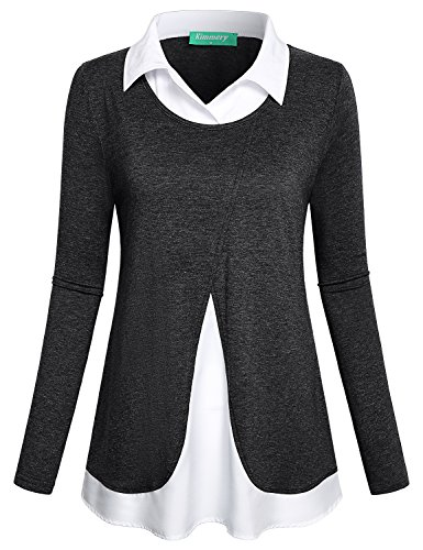 Kimmery Work Blouses for Women Ladies Fashion Office Clothes Classic Collar Fake Twinset 2 in 1 Shirt Flattering Long Sleeve Loose Fitting Twofer Peter Pan Tees Space Dye Black Large (Black, Large) - Blouse Set