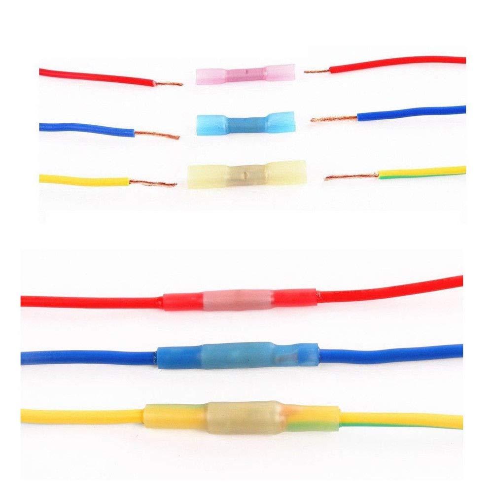 250pcs Heat Shrink Wire Connectors Waterproof Marine Automotive Butt Ring Set DIY Electrical Crimp Terminals Kit