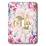 3dRose Uta Naumann Sayings and Typography - Artprint Flower Frame with Gold Letter Typography - You Complete Me - Light Switch Covers - single toggle switch (lsp_289814_1)