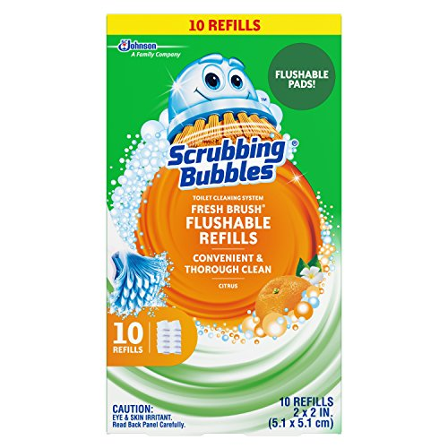 - Scrubbing Bubbles Fresh Brush Toilet Cleaning System, Flushable Refill, 10 ct