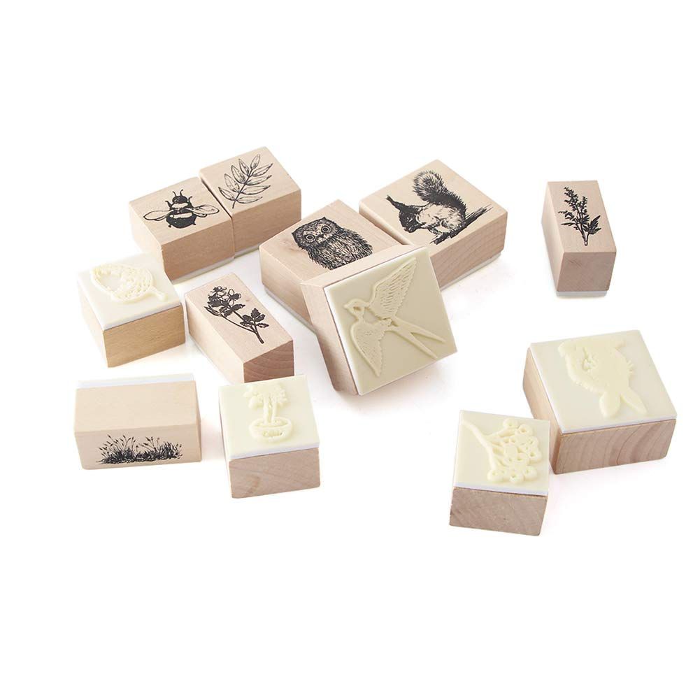12pcs Wooden Rubber Stamps Animals and Plants Patterns Stamps Set for DIY Craft Card Scrapbooking Supplies by Co-link (Image #3)