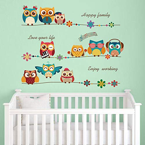 decalmile Cartoon Owl Kids Wall Stickers Music Note Flowers Wall Decals Baby Nursery Childrens Bedroom Wall Decor (Wall Stickers Owl)