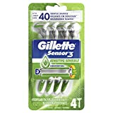 Gillette Sensor3 Sensitive Men's Disposable Razors, 4 Count