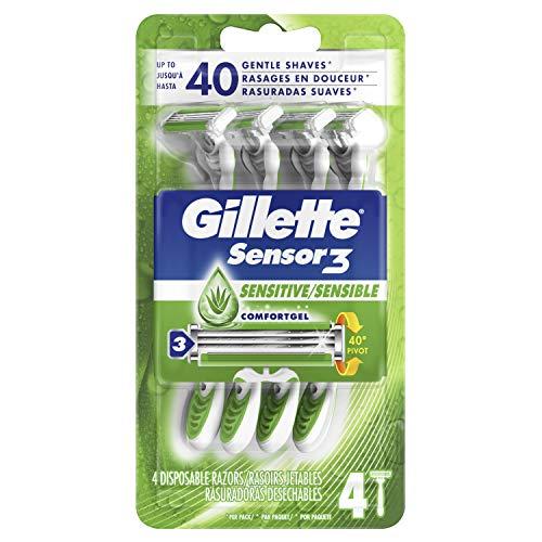 Gillette Sensor3 Sensitive Men's Disposable Razor, 4 Razors ONLY $2.97
