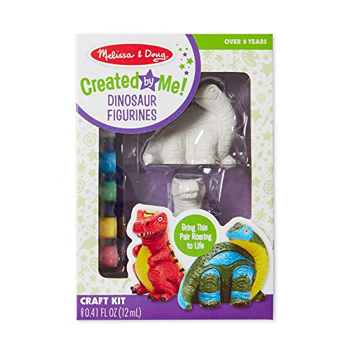 Melissa amp Doug Decorate Your Own Dinosaur Figurines AllInclusive Art Set Ready to Decorate 6 Pots of Paint and Paintbrushes
