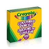 Crayola Coloured Pencils, 100 Count Pencil Crayons, Vibrant colours, Pre-sharpened, Art Tools, Adult Colouring, Bullet Journaling, School and Craft Supplies, Drawing Gift for Boys and Girls, Kids, Teens Ages 5, 6,7, 8 and Up, Back to school, School supplies, Arts and Crafts,  Stuff
