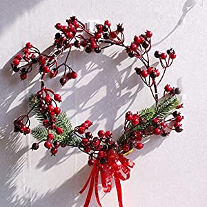 Fake Flower Christmas Wreaths Artificial Berries Natural Pine Nuts Combination Garlands Christmas Decoration for Home Party Outdoor 45Cm,45Cm Red 3