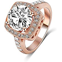 New Exquisite Fashion Jewelry Hot Sale Rose Gold Square Austrian Crystal Diamond Zircon Ring