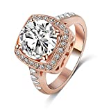 99 cent free shipping - LuckyWeng New Exquisite Fashion Jewelry Rose Gold Square Austrian Crystal Diamond Zircon Ring