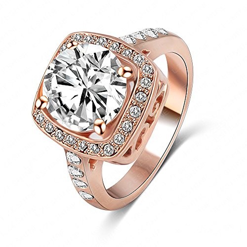 Deals and Sales - LuckyWeng New Exquisite Fashion Jewelry Hot Sale Rose Gold Square Austrian Crystal Diamond Zircon Ring