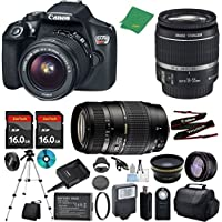 Canon T6 Camera with 18-55mm IS + Tamron 70-300mm AF Lens + 2pcs 16GB Memory + Case + Card Reader + Tripod + ZeeTech Starter Set + Wide Angle + Telephoto + Flash + Filter