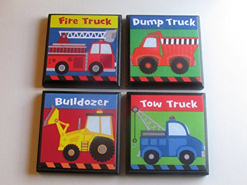Listing All Trucks >> Amazon Com Boys Trucks Room Wall Plaques Set Of 4 Boys
