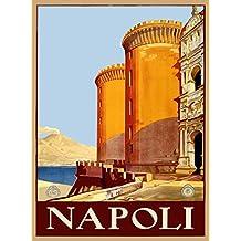 Napoli Naples Fortress Bay of Naples and Mount Vesuvius Italy Italian European Vintage Travel Advertisement Art Poster Print. Measures 10 x 13.5 inches