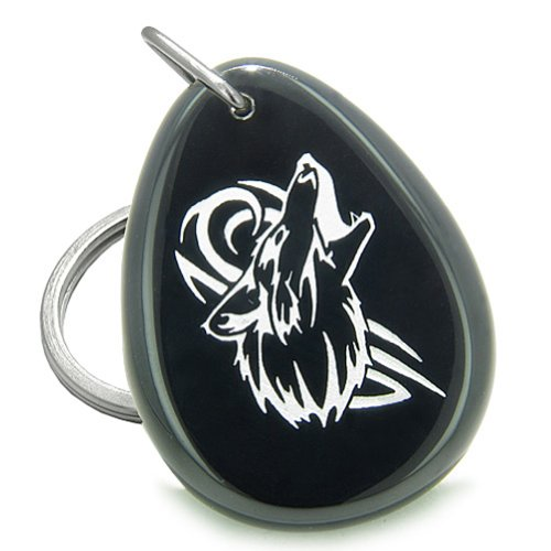 Courage Howling Spiritual Gemstone Keychain product image