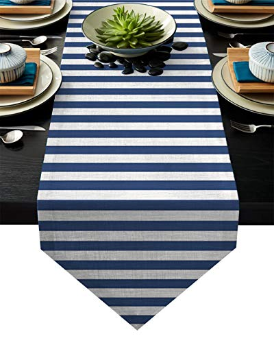 Linen Burlap Table Runner Dresser Scarves, Nautical Stripes Navy and White Kitchen Table Runners for Dinner Holiday Parties, Wedding, Events, Decor - 13 x 70 Inch