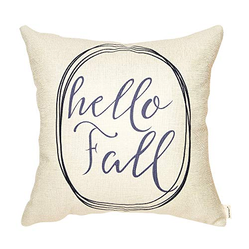 Fahrendom Rustic Hello Fall Farmhouse Style Autumn Sign Cotton Linen Home Decorative Throw Pillow Case Cushion Cover with Words for Sofa Couch 18 x 18 in (Fall Hello)