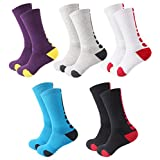 Big Boys Crew Sock Basketball Soccer Elite Sport Athletic Outdoor Cushioned Compression Socks 5 Pack