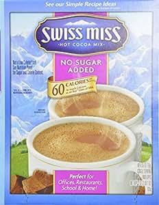 Swiss Miss Milk Chocolate No Sugar Added Not Sugar Free Premium Hot Cocoa Mix - 60-0.55oz Envelope Pack
