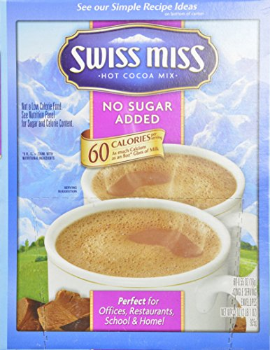 Swiss Miss Milk Chocolate No Sugar Added Not Sugar Free Premium Hot Cocoa Mix   60 0 55Oz Envelope Pack