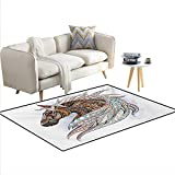 Rug,African Indigenous Totem Animal Theme Modern Art with...