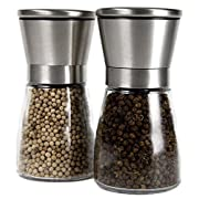 Amazon Lightning Deal 74% claimed: YAMO Stainless Steel Salt and Pepper Grinder Set of 2- Brushed Stainless Steel Pepper Mill and Salt Mill, Glass Body, 5 Grade Adjustable Ceramic Rotor - Salt and Pepper Shakers