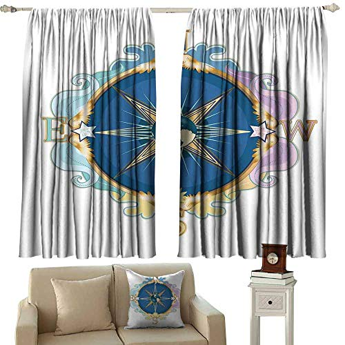 (Diycon Novel Curtains Compass Stylized Compass Navigation Theme Orientation Showing North South East West Pink Blue Golden Blackout Draperies for Bedroom Living Room W120 xL72)
