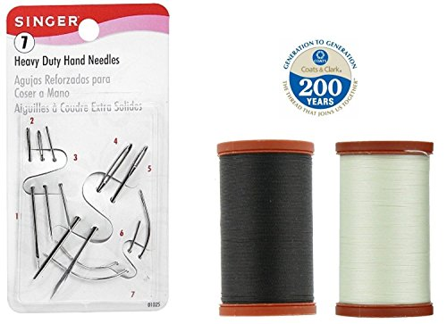 Upholstery Repair Kit! Coats & Clark Extra Strong Upholstery Thread 1 Naturel Spool, 1 Black Spool (150-Yard) Includes a Set of Heavy Duty Assorted Hand Needles, 7-count