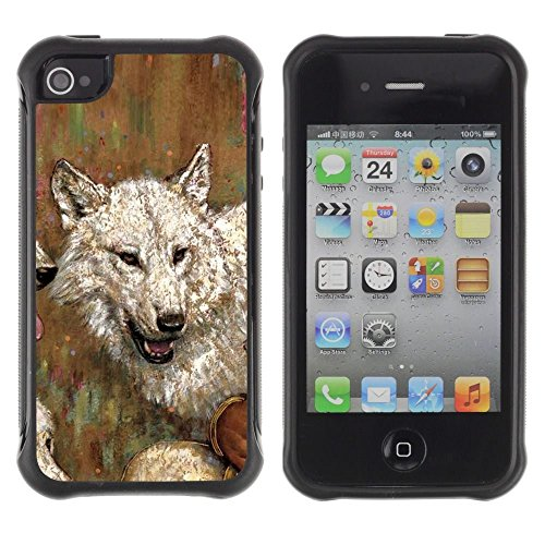 iPhone 4 / iPhone 4S , Wolf Drawing Art Painting White Gray Oil Watercolor