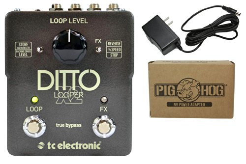 TC Electronic Ditto X2 Looper Pedal Bundle with Switchable Effects and ac power adapter