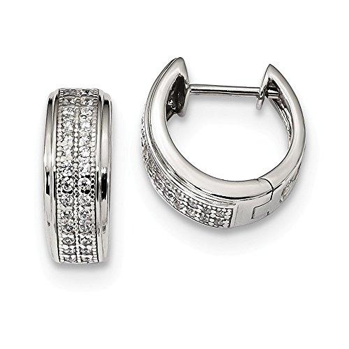 - Sterling Silver Jewelry Hinged/Huggie Earrings Hinged 13.5 mm 13 mm CZ Hinged Hoop Earrings