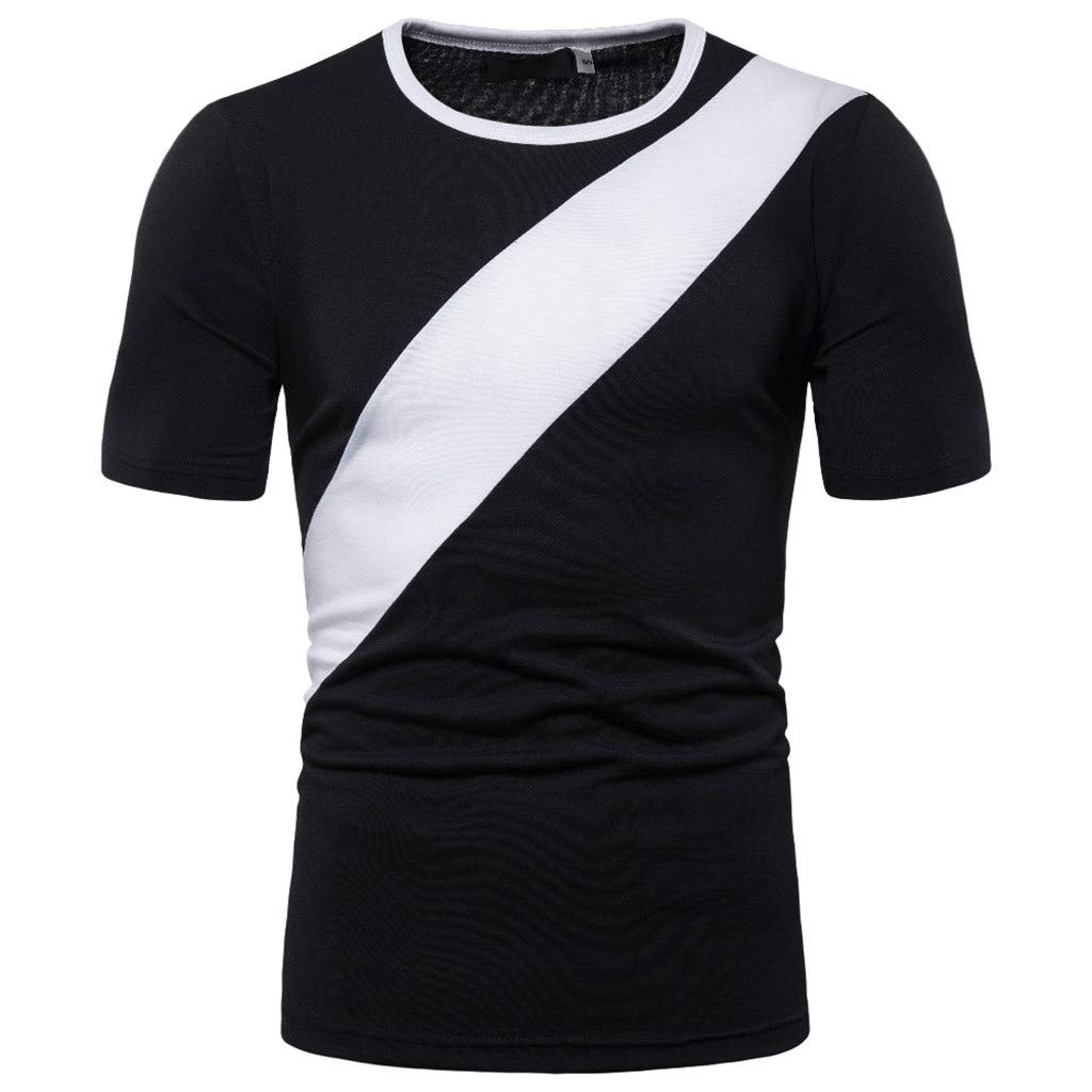 Mens Stitching Color Slim Splice Casual Sport Lapel Short Sleeve Shirt