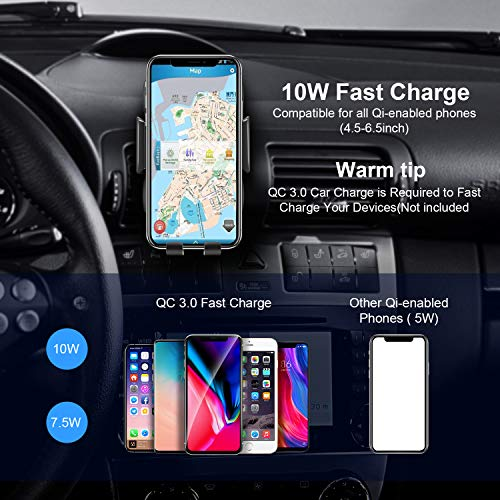 Automatic Clamping Qi Wireless Car Charger, SANCEON 10W/7.5W Fast Charger Car Mount Phone Holder for Air Vent Dashboard Compatible with iPhone Xs/Xs Max/XR/X/8/8Plus, Samsung Galaxy S10/S10+/S9/S9+/S8 by SANCEON (Image #4)