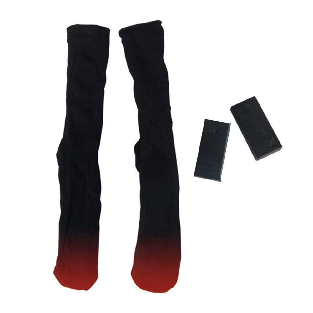 precauti Algod/ón climatizada de Sockings Doble Capa con Pilas del pie del Invierno Calentadores el/éctricos Calcetines t/érmicos Calientes