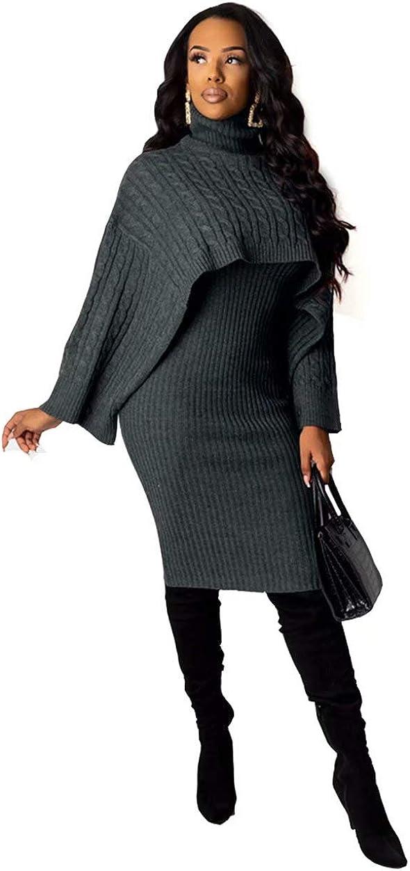 ThusFar Womens 2 Piece Sweater Dress Sets Loose Turtleneck Sweaters Shawl Poncho Cape and Bodycon Tank Midi Dresses