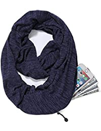 Lanmei Infinity Scarf with Hidden Zipper Pocket for Women Girls - Soft Stretchy Convertible Pocket Scarf (navy)