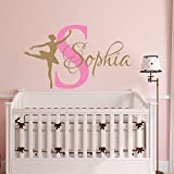 Ballerina Wall Decal Name Dancing Nursery Ballet Dance Vinyl Decals Sticker Custom Decals Personalized Girls Bedroom Decor