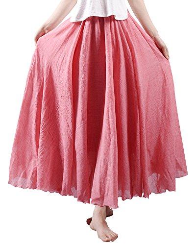 Mujeres Bohemia Cintura Elástico Algodón Larga Lino Faldas Las Faldas de Lino Falda Plisada Luz roja