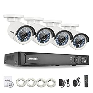 ANNKE 4.0 Megapixels POE Security Camera System 4CH 6.0MP NVR and (4) 2688x1520p 4MP Outdoor Day/Night Vision Security Camera with IP66 Weatherproof, Motion Detection and Email Alert-No HDD from ANNKE
