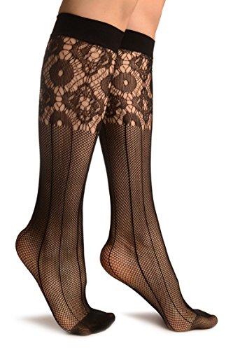Black Pinstriped Mesh Socks Knee High - Socks