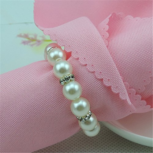 Wedding Napkin Rings Pearls Resin Napkin Buckle Holder Christening Bangle Party Decoration Supplies ()