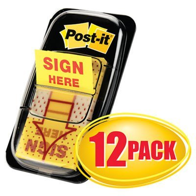 Page Flags in Dispenser, ''''Sign Here'''', Yellow, 12 50-Flag Dispensers/Pk, Sold as 12 Package