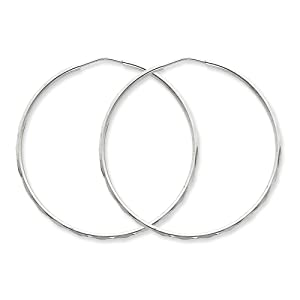 .925 Sterling Silver 50 MM Diamond-cut Hinged Hoop Earrings