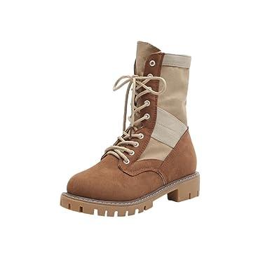 9c4436766 OverDose Bottines Plates à Lacets, Femme Bottes Style Randonnée Cuir Hiver  Chaussures