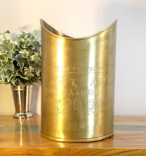 French Cotes De Provence Chateau Wine Ice Bucket Wood Kindling Antique Brass -