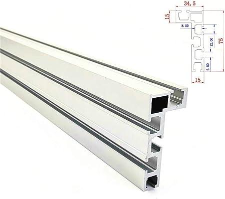 NOBGP T-Slot Track Aluminio Backer de carpintería Sierra para Trabajo de Madera Banco de Trabajo de Bricolaje para Valla 75mm Altura con T-Tracks JIgs de construcción,1000mm: Amazon.es: Hogar