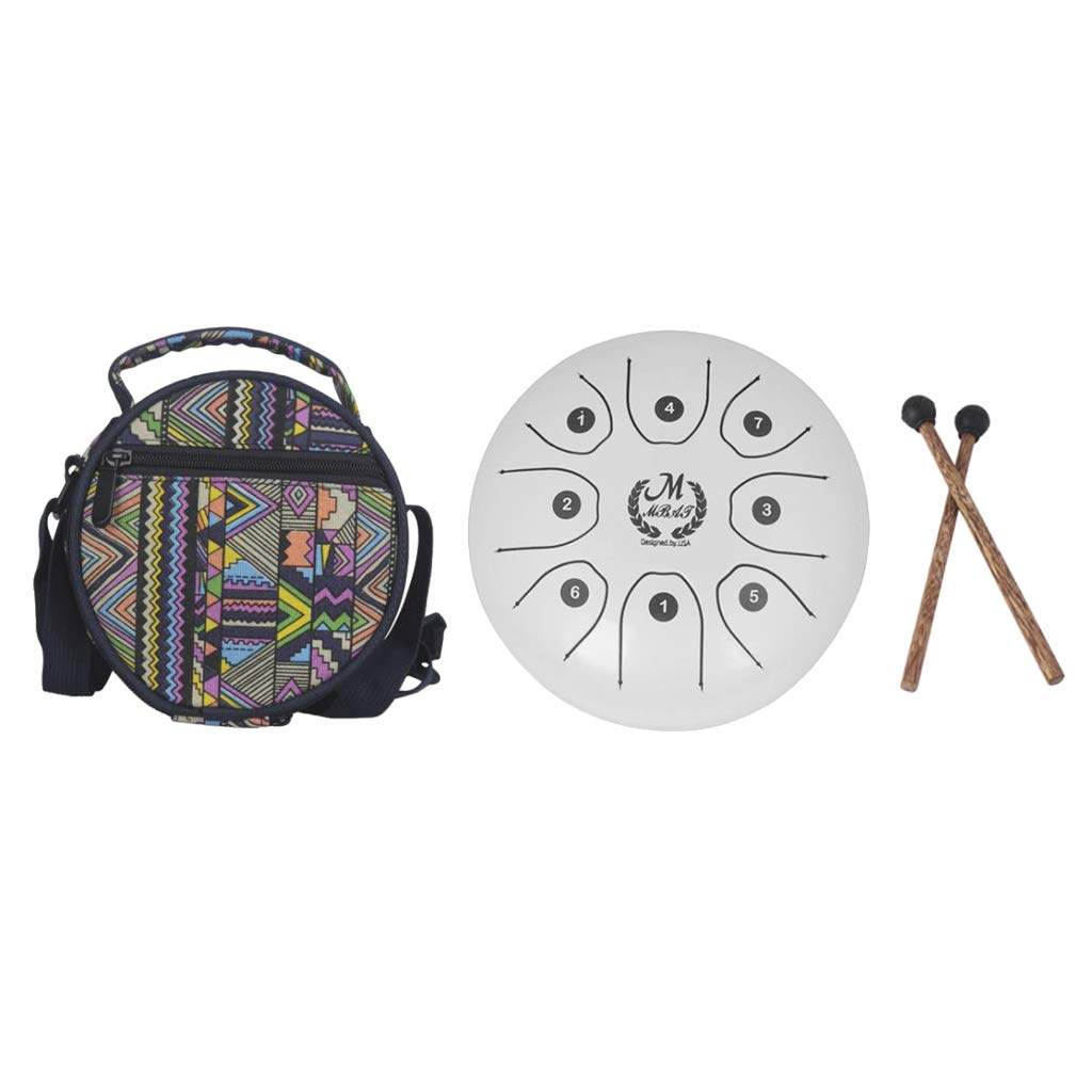 kesoto 5.5 Inch 8 Tones Steel Tongue Drum Tank Drum Small Hand Percussion with Sticks Bag for Camping, Yoga, Meditation, Party - White, as described by kesoto (Image #8)