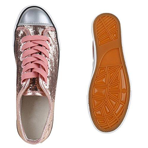 Glänzende Damen Sneakers Glitzer Metallic Sneaker Low Pailletten Flats Turnschuhe Leder-Optik Flandell Rose Gold Glanz
