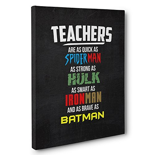 Teachers Superheroes Appreciation Canvas Wall Art by Paper Blast